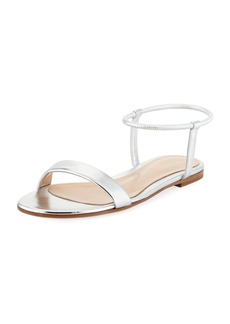 Gianvito Rossi Flat Metallic Leather Ankle-Wrap Sandals