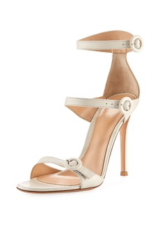 Gianvito Rossi 105mm Three-Strap Leather Buckle Sandal