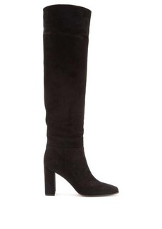 Gianvito Rossi 85 square-toe knee-high suede boots
