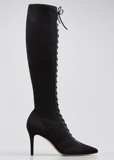 Gianvito Rossi 85mm Stretch Lace-Up Knee Boots