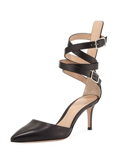 Gianvito Rossi Aleris D' Orsay 70 Leather Ankle-Wrap d'Orsay Pump