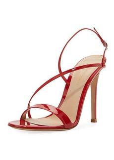 Gianvito Rossi Asymmetric Strappy Patent Sandal