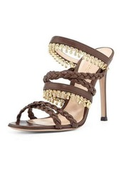 Gianvito Rossi Beaded Leather Strappy Mule Sandal