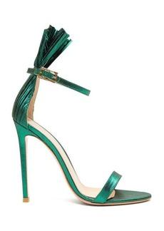 Gianvito Rossi Belvedere 105 plissé-cuff lamé stiletto sandals