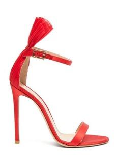 Gianvito Rossi Belvedere 105 plissé-cuff satin stiletto sandals
