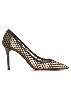 Gianvito Rossi Cage 85 mesh and crochet pumps