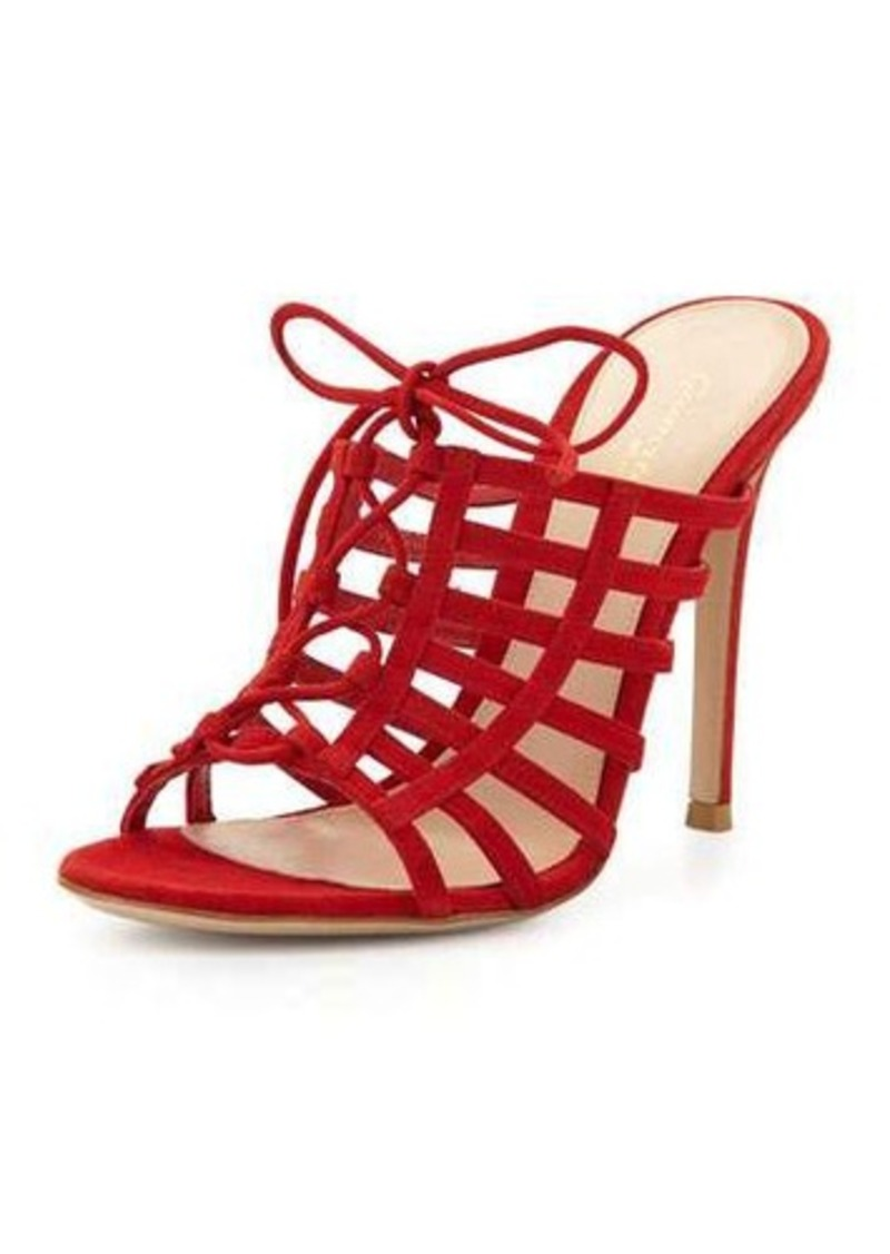 Gianvito Rossi Caged Suede Mule Pump
