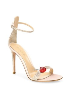 Gianvito Rossi Cherry Portofino Crystal Ankle-Strap Sandals