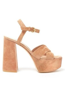 Gianvito Rossi Crossover-front 70 platform suede sandals