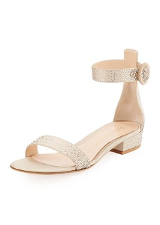 Gianvito Rossi Crystal Portofino 20 Crystal-Embellished Silk 25mm Sandal