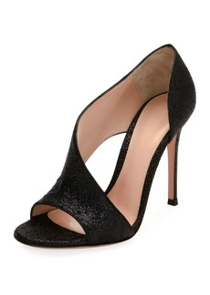 Gianvito Rossi Demi Asymmetric Metallic Fabric Sandals