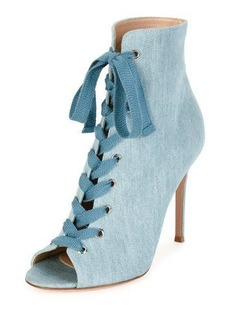 Gianvito Rossi Denim Open-Toe 105mm Bootie