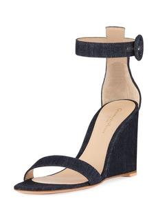 Gianvito Rossi Denim Wedge Ankle Sandals