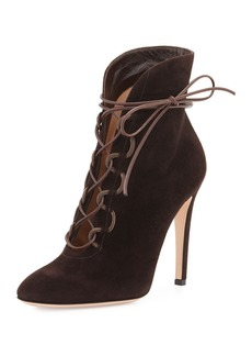 Gianvito Rossi Empire Suede Lace-Up 105mm Bootie