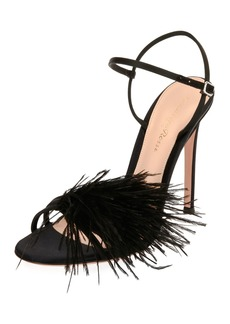 Gianvito Rossi Feather-Embellished Satin Sandal