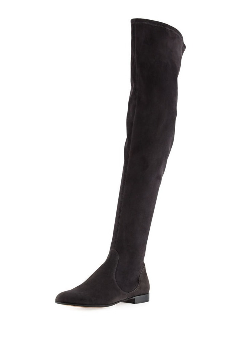 4c9f93084bdf Gianvito Rossi Felder Flat Cuissard Flat Stretch-Suede Over-the-Knee Boot