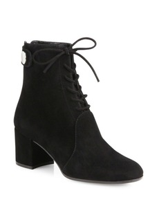Gianvito Rossi Finlay Suede Lace-Up Block Heel Booties