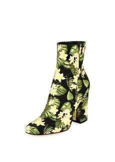 Gianvito Rossi Floral-Print Block-Heel Boot