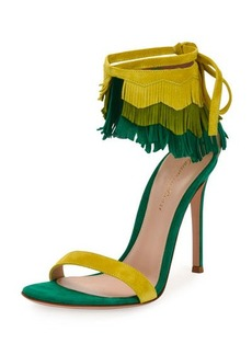Gianvito Rossi Fringe-Cuff Suede 105mm Sandal
