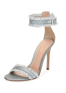 Gianvito Rossi Fringed Glitter Fabric Sandal