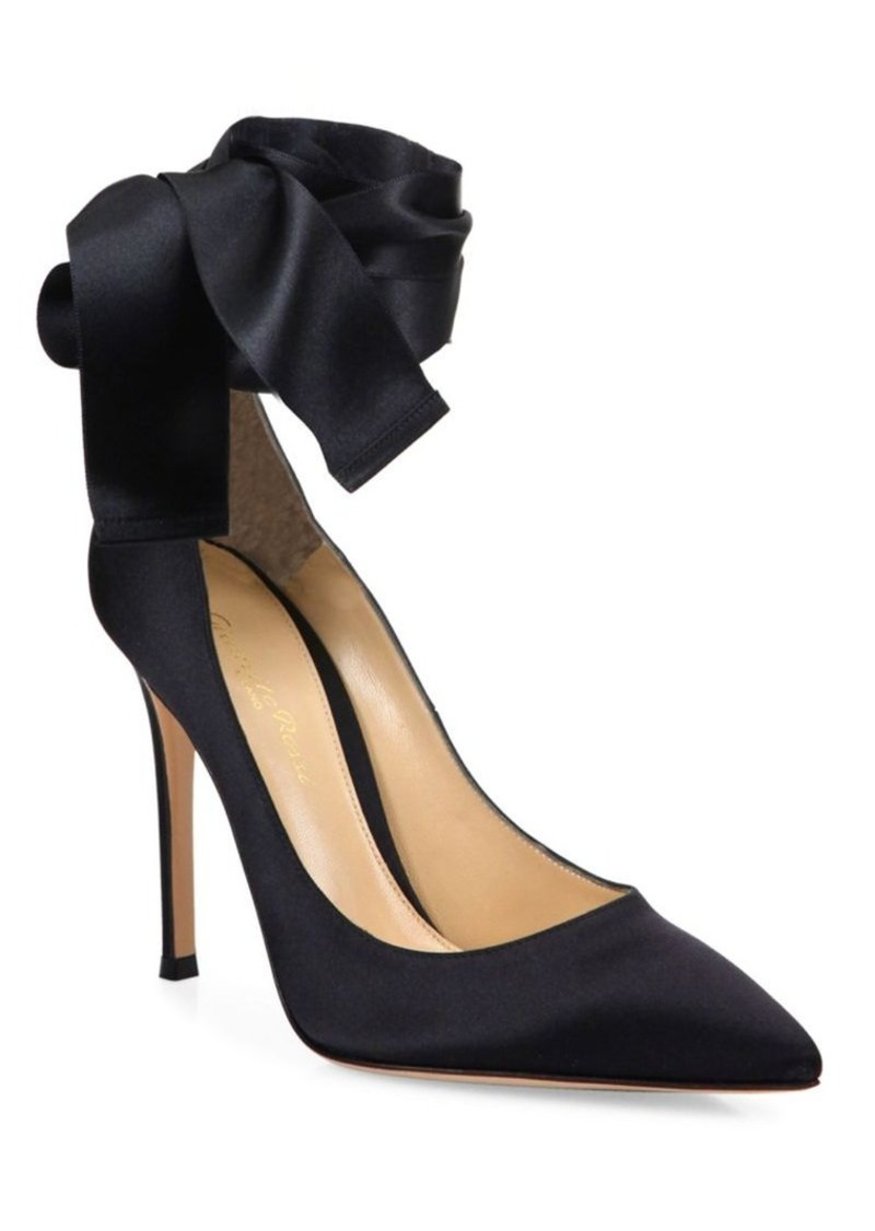 a23b57684 SALE! Gianvito Rossi Gala Satin Ankle-Wrap Point Toe Pumps