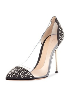 Gianvito Rossi Grommet 105mm Plexi/Leather Pump