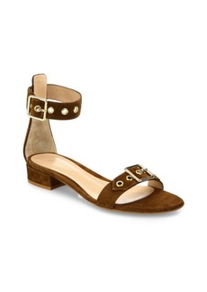 Hayes Buckle Suede Ankle-Strap Sandals