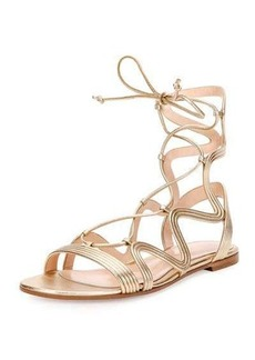 Gianvito Rossi Hydra Wavy Leather Flat Lace-Up Sandal