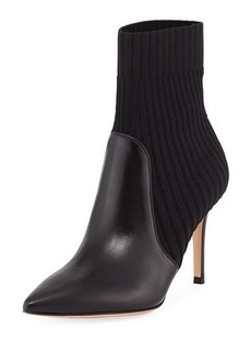 Gianvito Rossi Katie 85 Leather/Knit Sock Bootie