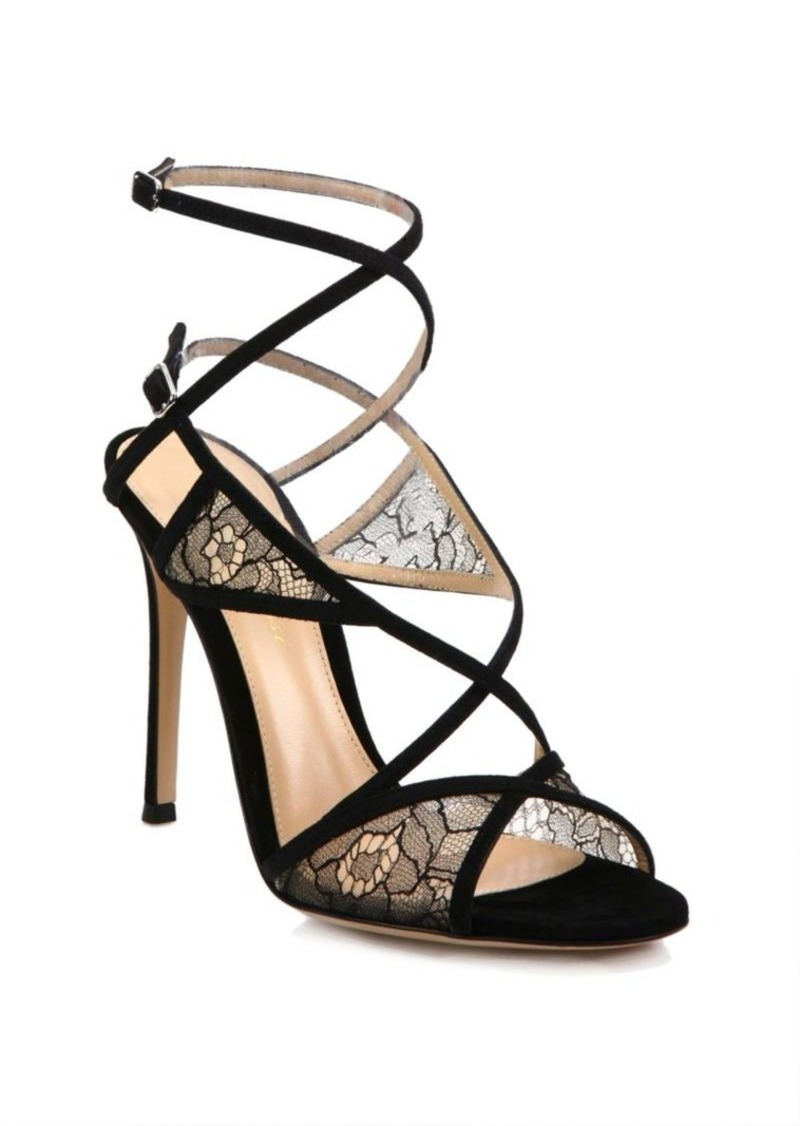 3182375a4e3d Gianvito Rossi Gianvito Rossi Lace   Suede Strappy Sandals Now  462.50
