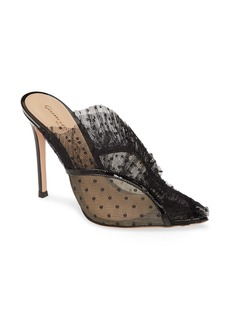 Gianvito Rossi Lace Ruffle Slip-On Stiletto Sandal (Women)