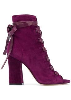Gianvito Rossi lace-up block heel sandals - Pink & Purple