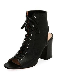 Gianvito Rossi Lace-Up Stretch Napa Open-Toe Bootie