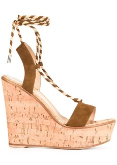 Gianvito Rossi lace-up wedge sandals - Brown