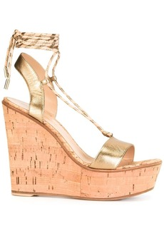 Gianvito Rossi lace-up wedge sandals - Metallic