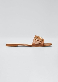 Gianvito Rossi Leather Buckle Slide Flat Sandals