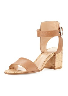 Gianvito Rossi Leather Cork Block-Heel Sandal