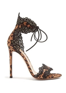 Gianvito Rossi Leopard-print 105 lace-trimmed satin sandals