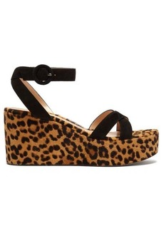 Gianvito Rossi Leopard-print 80 calf-hair platform sandals