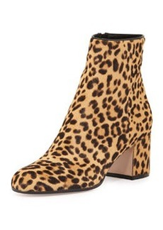 Gianvito Rossi Leopard-Print Calf Hair Block-Heel Ankle Boot
