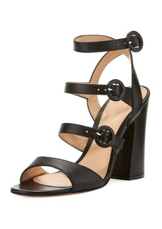 Gianvito Rossi Mali Leather Multi-Strap Block-Heel Sandal