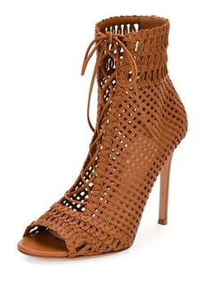 Gianvito Rossi Marnie Woven Leather 105mm Bootie