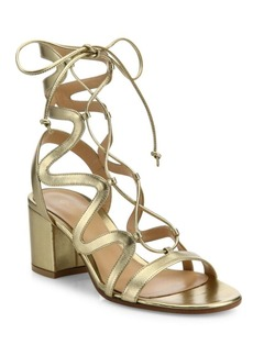 Gianvito Rossi Metallic Leather Lace-Up Block Heel Sandals