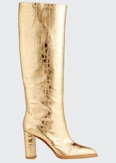 Gianvito Rossi Metallic Mock-Croc Knee Boots