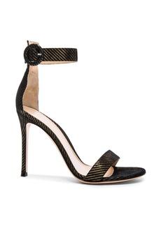 Gianvito Rossi Metallic Pinstripe Portofino Heels