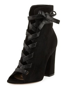 Gianvito Rossi Mid-Calf Suede Open-Toe Lace-Up Bootie