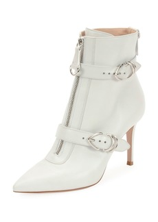 Gianvito Rossi Napa Buckled Zip-Front Ankle Booties