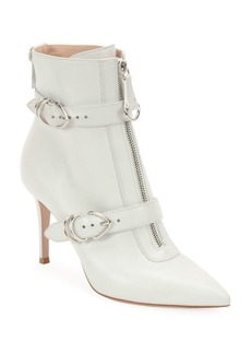 Gianvito Rossi Napa Buckled Zip-Front Ankle Booties  White