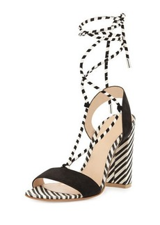 Gianvito Rossi Nautical Striped Lace-Up Sandal