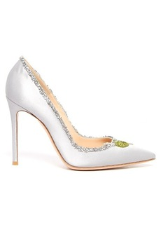 Gianvito Rossi Olive crystal-embellished satin pumps